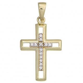 Anhänger Kreuz 333 Gold Gelbgold 13 Zirkonia Kreuzanhänger Goldkreuz