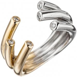 Damen Ring offen 585 Gold Gelbgold Weißgold bicolor 6 Diamanten Brillanten