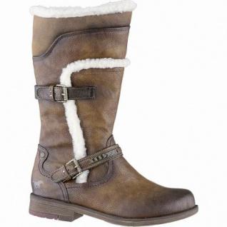 Mustang coole Damen Leder Imitat Winter Stiefel kastanie, molliges Warmfutter, 28 cm Schaft, Mustang Laufsohle, 1641322