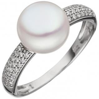 Damen Ring 333 Gold Weißgold 1 Süßwasser Perle 36 Zirkonia Perlenring Goldring