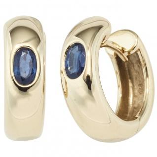Creolen rund 585 Gold Gelbgold 2 Safire blau Ohrringe Goldohrringe Goldcreolen