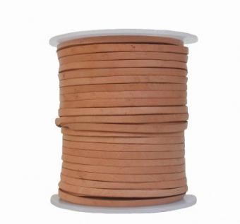 Lederband Flachband Rindleder natur, vegetabiles Leder, Länge 50 m, Breite 3 mm, Stärke ca. 1, 0 / 1, 2 mm