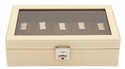 Friedrich Lederwaren Damen Leder Uhrenkasten für 10 Uhren beige, Schloss, Glaseinsatz, Serie Cordoba, ca. 29x18, 5x8, 5 cm
