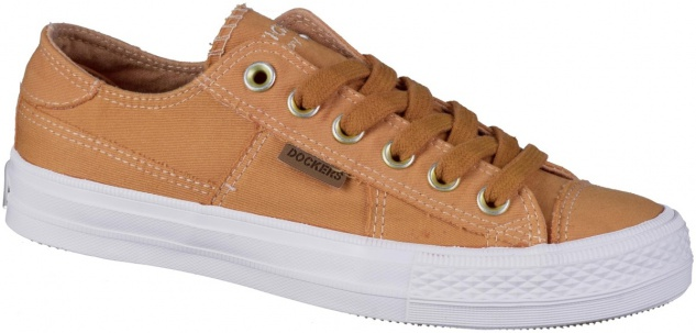 DOCKERS Damen Canvas Sneakers orange, Textilfutter, softe Decksohle