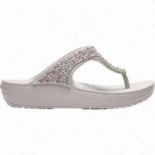 Crocs Sloane Embellished Flip coole Damen Pantoletten pearl white, Plateausohle, Croslite Foam-Fußbett, 4340124