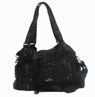 Angel kiss AK3023 coole Tasche schwarz Leder Look, Shopper, 2 Hauptfächer, langer Trageriemen, 35x26x10 cm