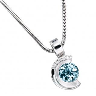 Anhänger 585 Gold Weißgold teil matt 5 Diamanten Brillanten 1 Aquamarin blau