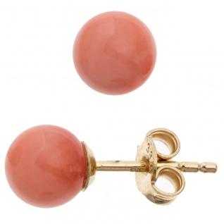 Ohrstecker Kugel 333 Gold Gelbgold 2 Korallen rosa rosé Ohrringe Goldohrstecker