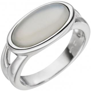 Damen Ring 585 Gold Weißgold 1 Mondstein-Cabochon Weißgoldring Mondsteinring