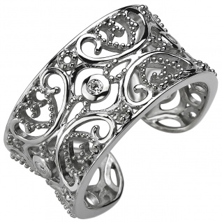 Damen Ring offen, 925er Sterling Silber mit 3 Zirkonias, Damen Silberring