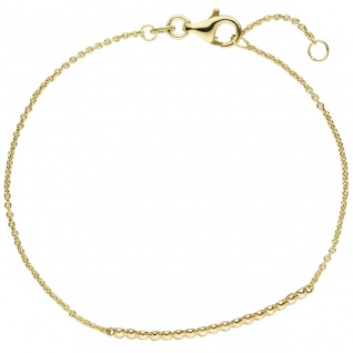 Armband 585 Gold Gelbgold 7 Diamanten Brillanten 0, 06ct. 17, 5 cm Goldarmband