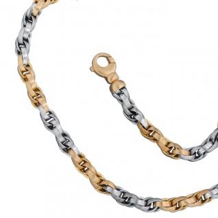 Collier Halskette 585 Gold Gelbgold Weißgold bicolor 45 cm Kette Goldkette