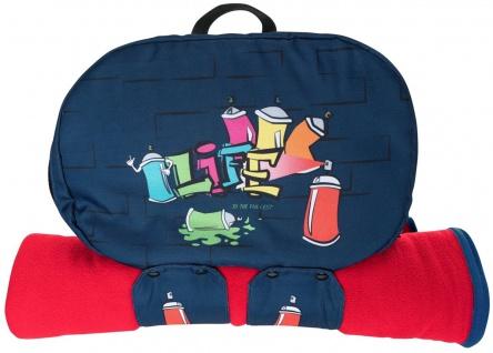 cooler Jungen Rucksack Organizer Graffiti blau, viele Fächer, mit Reisedecke,...