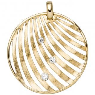 Anhänger 585 Gold Gelbgold eismatt 3 Diamanten Brillanten Diamantanhänger