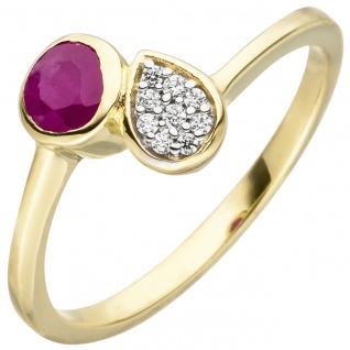 Damen Ring 333 Gold Gelbgold 1 Rubin rot 9 Zirkonia Rubinring