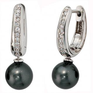 Creolen 925 Silber 2 synthetische Perlen 20 Zirkonia Ohrringe Perlenohrringe