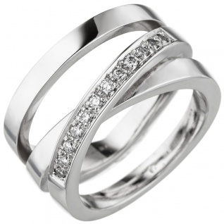 Damen Ring verschlungen 585 Gold Weißgold 12 Diamanten Brillanten Diamantring