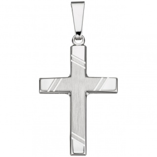 Anhänger Kreuz 925 Sterling Silber matt Kreuzanhänger Silberanhänger Silberkreuz