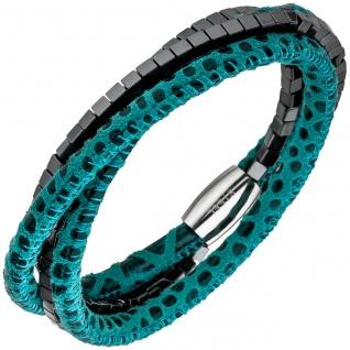 Armband Leder türkis mit Hämatit Würfeln und Edelstahl 19 cm Lederarmband