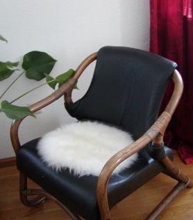 runde Sitzauflage aus australischen Lammfellen, Fellkissen rund naturweiß, Ø ...