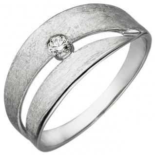 Damen Ring 585 Gold Weißgold eismatt 1 Diamant Brillant 0, 09ct. Diamantring