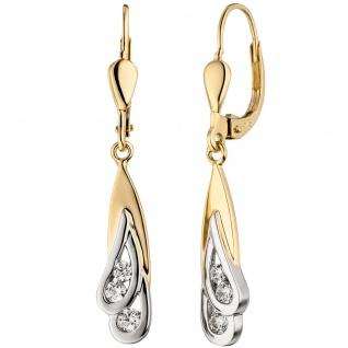 Ohrhänger 375 Gold Gelbgold Weißgold bicolor 6 Zirkonia Ohrringe Boutons