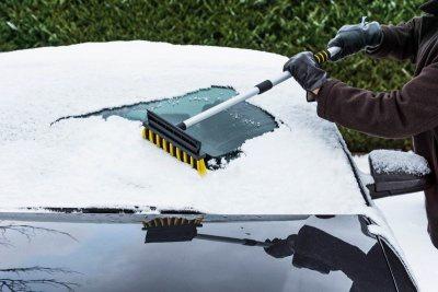 3in1: Profi Eiskratzer mit Schneebesen und Gummilippe, Aluminium Teleskopstange ausziehbar 60-90 cm, weicher Griff - Vorschau 2
