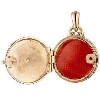 Medaillon rund für ein Foto 925 Sterling Silber rotgold vergoldet 1 Zirkonia
