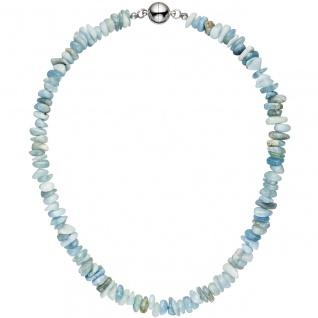 Halskette Kette Aquamarin hellblau blau 45 cm Aquamarinkette Steinkette