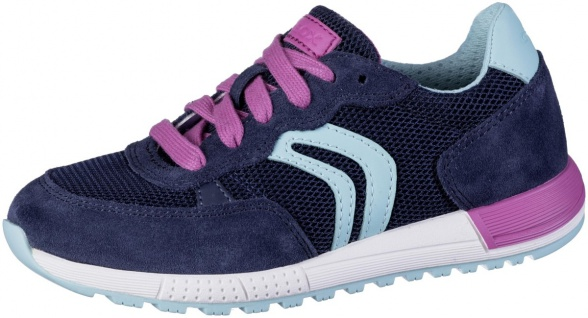 GEOX Mädchen Leder Sneakers navy, atmungsaktive Geox Laufsohle