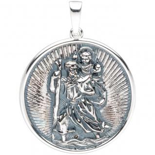 Anhänger Schutzpatron Christopherus rund 925 Sterling Silber geschwärzt