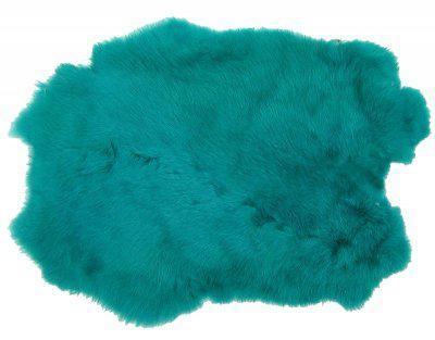 Kaninchenfelle türkis gefärbt, ca. 30x30 cm, Felle vom Kaninchen mit seidigem Haar
