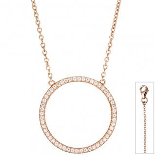Collier Halskette 925 Silber rotgold vergoldet mit Zirkonia 45 cm Kette - Vorschau 1