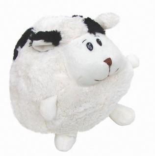 süßes Stofftier Kuscheltier Kugel Schaf mit schwarzen Flecken aus Mikrofaser,...