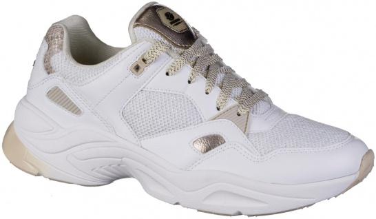 DOCKERS Damen Leder Imitat Sneakers weiss, Textilfutter, Light Weight Laufsohle