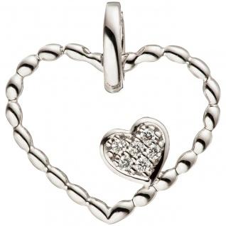 Anhänger Herz Herzen 585 Gold Weißgold 6 Diamanten Brillanten Herzanhänger