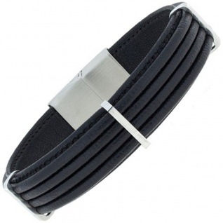 Armband Leder schwarz mit Edelstahl 21 cm
