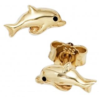 Kinder Ohrstecker Delfin 333 Gold Gelbgold Ohrringe Kinderohrringe