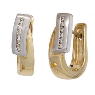 Creolen 585 Gelbgold Weißgold bicolor teilmatt 12 Diamanten Brillanten Ohrringe - Vorschau