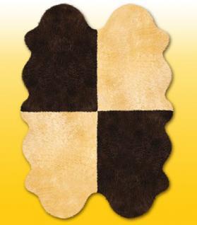 Fellteppiche beige-braun aus 4 Lammfellen, Größe ca. 185 x 125 cm, 30 Grad waschbar