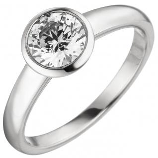 Damen Ring 585 Gold Weißgold 1 Diamant Brillant 1, 0 ct. Diamantring Solitär