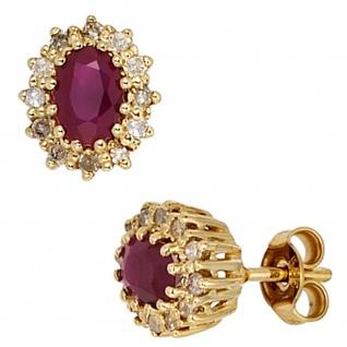 Ohrstecker 585 Gold Gelbgold 24 Diamanten 0, 24ct. 2 Rubine rot Ohrringe