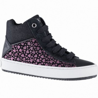 Geox Mädchen Synthetik Sneakers black, 7 cm Schaft, Meshfutter, Leder Fußbett, Antishock, 3741109