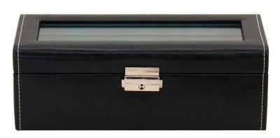Friedrich Lederwaren modischer Kunstleder Uhrenkasten mit Schloss, Glasdeckel für 4 Uhren schwarz, Serie Bond, ca. 24x9, 5x8, 5 cm