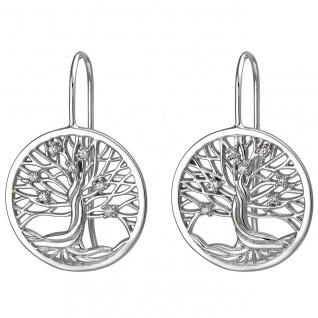 Damen Ohrhaken Lebensbaum 925er Sterling Silber mit 14 Zirkonias, Silber Ohrh...