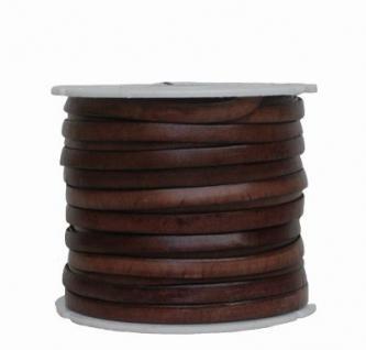Ziegenleder Lederriemen, Lederband flach dunkelbraun, Kanten schwarz gefärbt, Länge 25 m, Breite ca. 5 mm, Stärke ca. 1, 0 mm