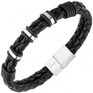 Herren Armband 2-reihig Leder schwarz mit Edelstahl 21 cm Herrenarmband