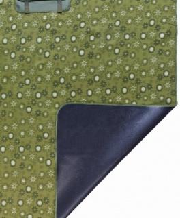 wasserdichte Reisedecke grün mit Tragegriff 125x134 cm waschbar, weiches Fleece, als Picknick Decke, Strand Matte, Camping Decke