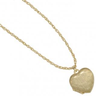 Medaillon Herz 333 Gold Gelbgold mattiert Anhänger zum Öffnen