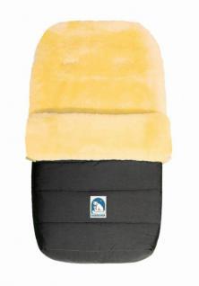 warmer Baby Winter Lammfell Fußsack grau waschbar, für Kinderwagen, Buggy, ca. 86x47 cm, 5-Punkt-Gurtschlitze